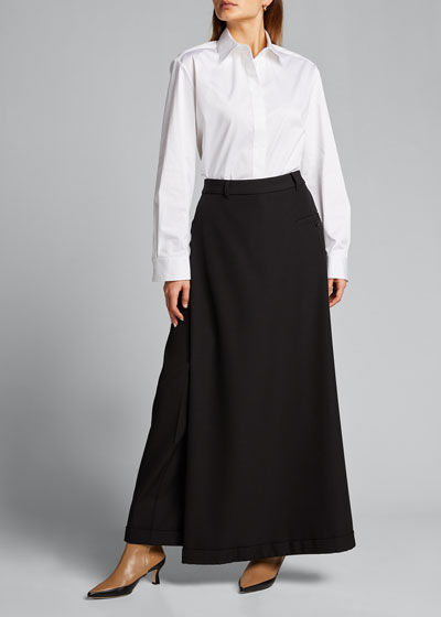 Skirt-Front Wide-Leg Trousers
