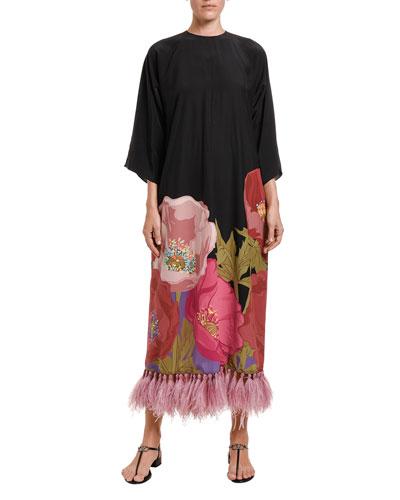 Poppy-Print Crepe Maxi Dress with Feather Hem