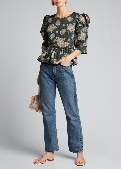 Floral-Print Puff-Sleeve Peplum Blouse