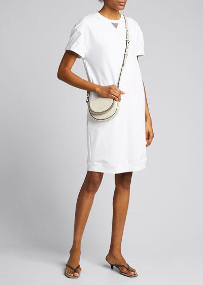 Monili-Beaded Cotton Felpa Cap-Sleeve T-Shirt Dress