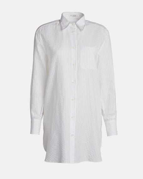Monili-Beaded Cotton Seersucker Tunic Blouse