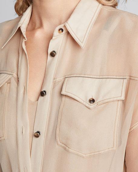 Crispy Silk Chiffon Tunic Shirt