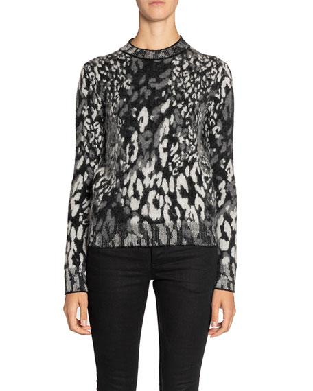 Leopard-Jacquard Fuzzy-Knit Crewneck Sweater