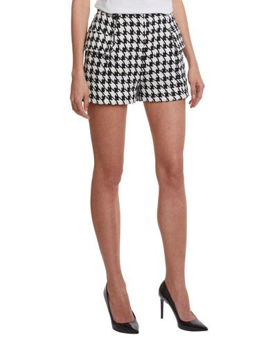 Houndstooth Tweed Shorts