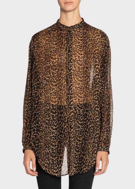 Leopard-Print Chiffon Oversized Shirt
