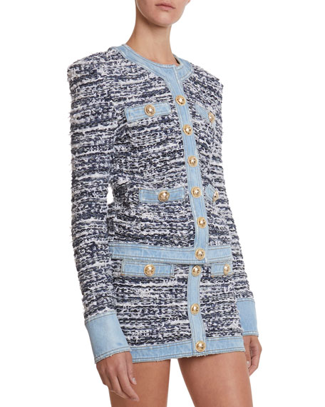 Denim-Trim Tweed Button-Front Jacket