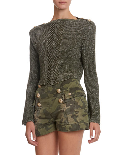 Shimmered Trumpet-Sleeve Cropped Sweater