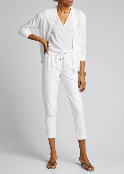 Sequined Linen/Silk Snap-Front Cardigan