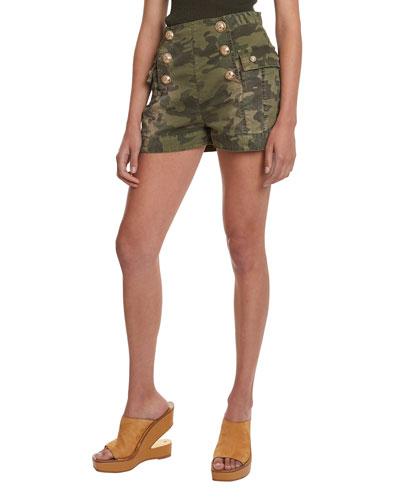 High-Rise Camo Cotton Shorts