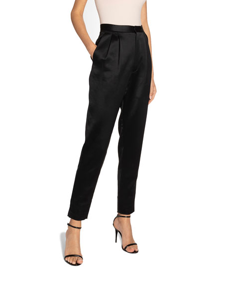 Satin High-Rise Skinny Trousers
