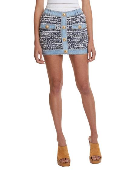 Low-Rise Tweed Denim Skirt