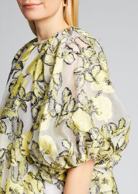 Floral Print Silk Puff-Sleeve Blouse