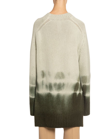 Tie-Dye High-Low Chunky Cashmere Sweater