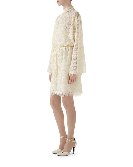 Vintage GG-Embroidered Lace Cocktail Dress