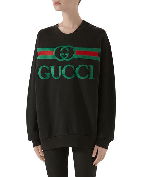 Oversized Logo-Embroidered Sweatshirt