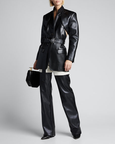 Faux-Leather Blazer with Detachable Apron