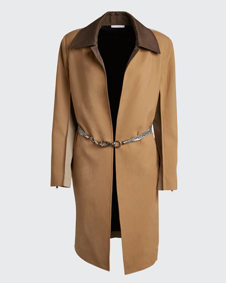 Chain-Belted Gabardine Coat