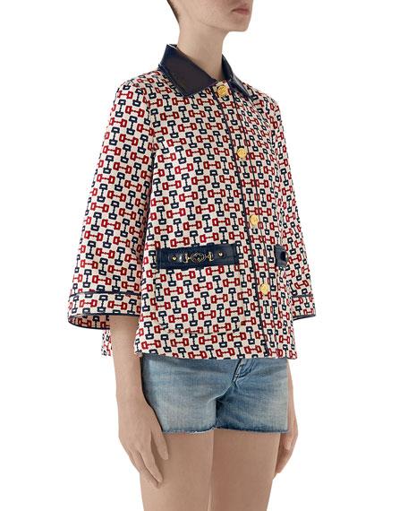 Horsebit-Print Swing Cape Jacket