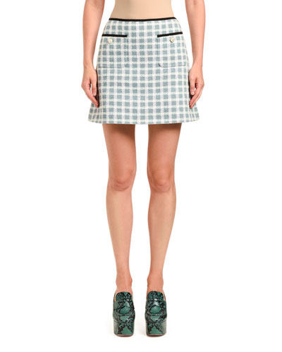Gonne Tweed Plaid Mini Skirt w/ Patch Pockets