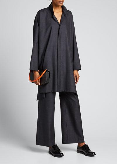Wool-Silk Straight Leg Pull On Trousers