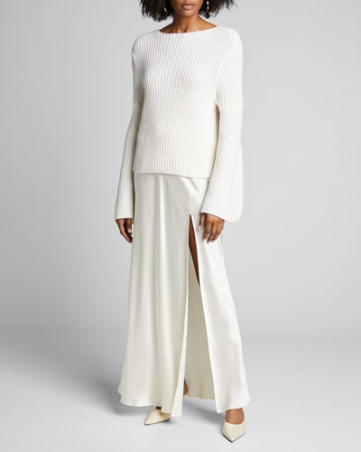Tumaraa Cotton-Cashmere Flare-Sleeve Sweater