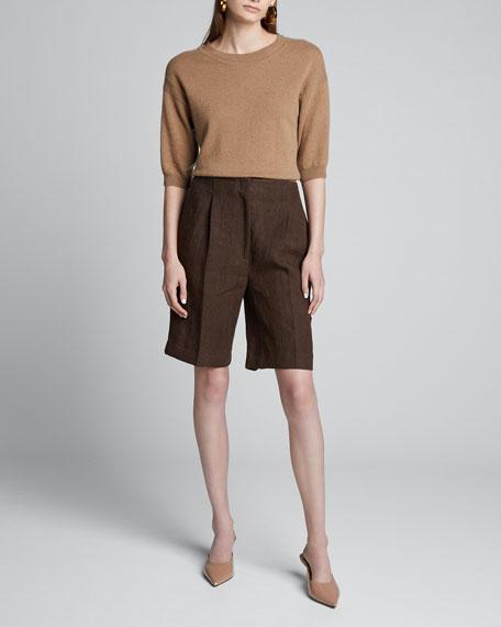 Heavy Linen Knee Shorts