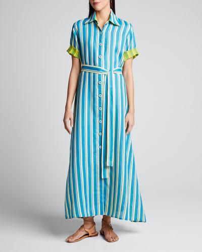 Sunflower Linen Belted Shirtdress