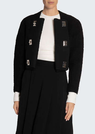Boucle Tweed Long-Sleeve Crewneck Lock Jacket