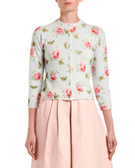 Rose & Butterfly Print Fuzzy Shrug Cardigan