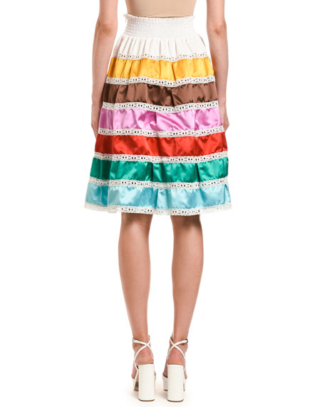 Duchess-Striped Smocked-Waist Skirt