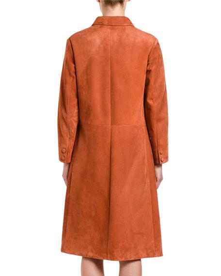 Suede Button-Front Long Coat