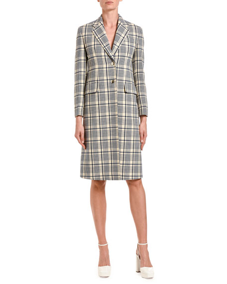 Windowpane Checked Wool Knee-Length Coat