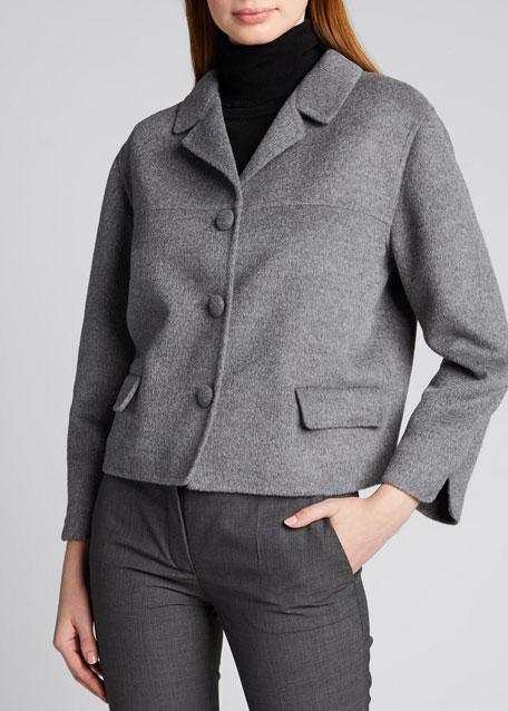Wool-Blend Boxy Crop Jacket