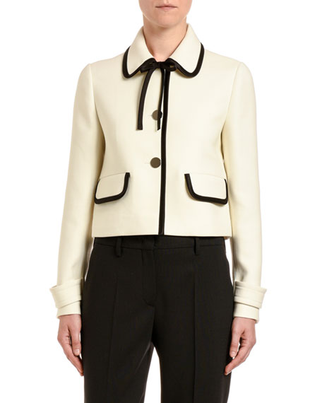Bow-Neck Button-Front Jacket