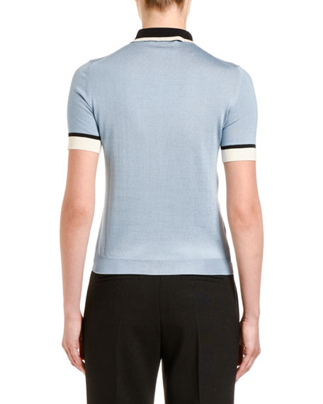 Colorblock Silk Polo Shirt