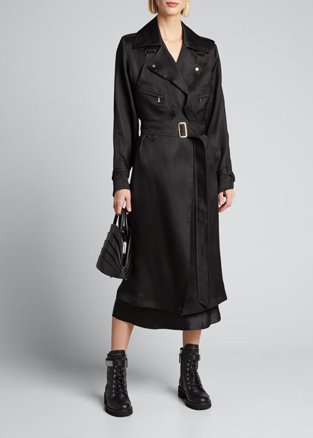 Maesa Silk Trench Coat with Harness