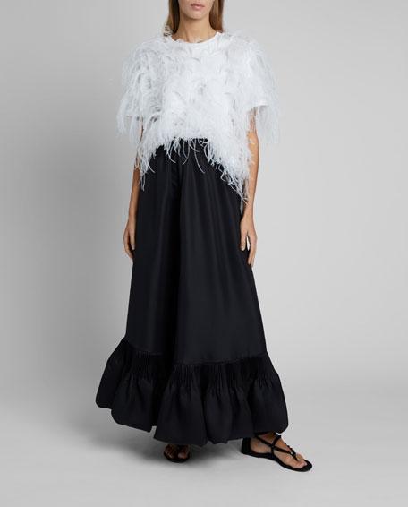 Ruffled-Hem Maxi Skirt