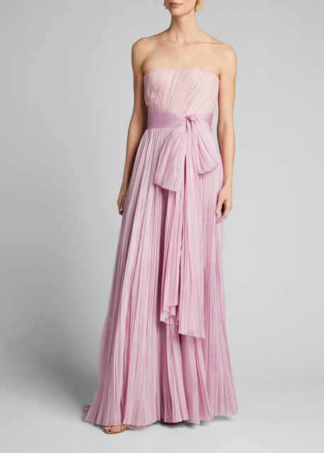 Strapless Bowed Plisse Gown