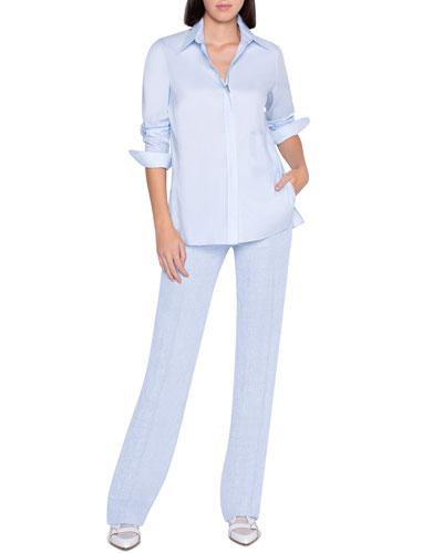 Cotton Twill Zip-Front Shirt