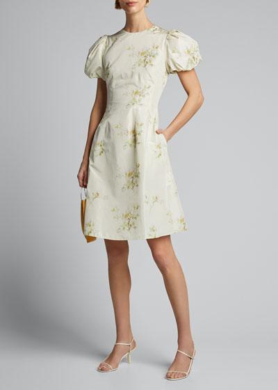 Floral Print Taffeta Puff-Sleeve Dress