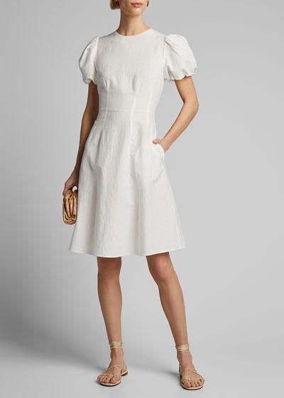 Poplin Puff-Sleeve A-Line Dress