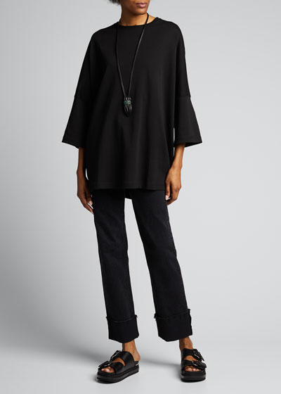 Pima-Cotton Sloped Shoulder Top