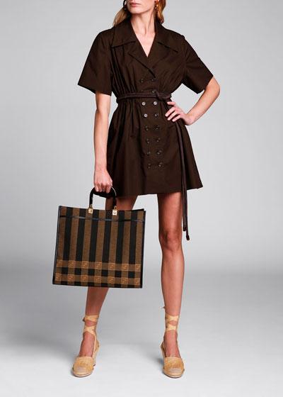 Short-Sleeve Cinched-Waist Cotton Dress