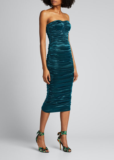 Ruched Lame Strapless Dress