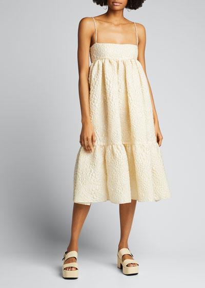 Pebbled Crepe Square-Neck Babydoll Dress