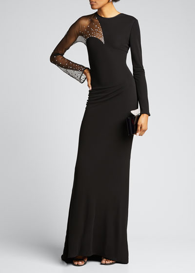 Scattered-Crystal Illusion Jersey Long-Sleeve Gown