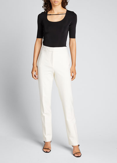 Fine Viscose Short-Sleeve Top with Leather Strap
