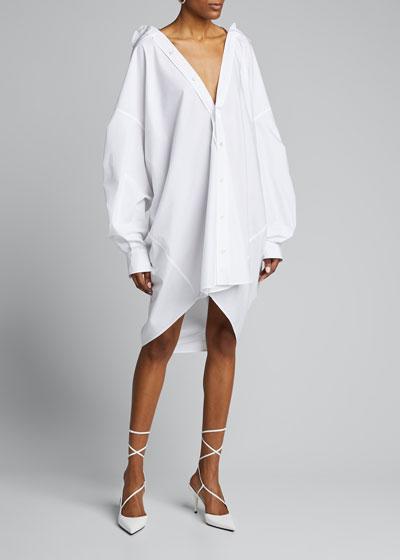 Jeweled-Back Oversized Shirtdress