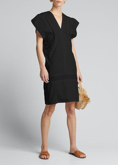 Priscila Short-Sleeve Lace-Inset Dress