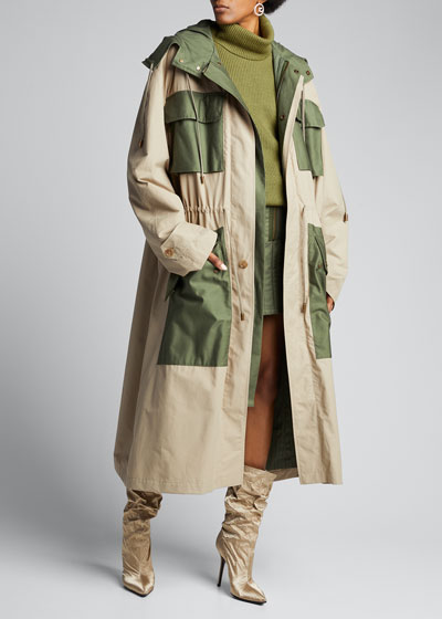 Two-Tone Oversized Trench Parka